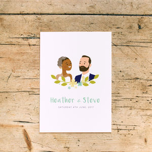Personalised Portrait Wedding Day Invitations - wedding stationery