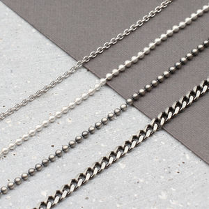 Sterling Silver Chains And Leather Necklet For Men - men's jewellery