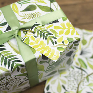 Botanical Leaves Wrapping Paper Set - gift wrap sets