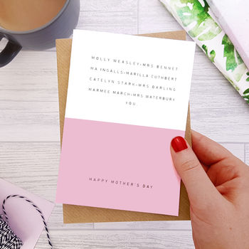 Mother's Day Card Literature's Favourite Mums