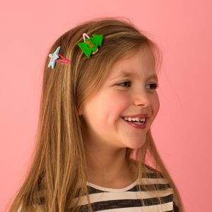 Star And Tree Festive Felt Hair Clips - hair accessories