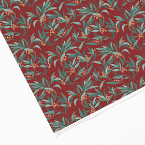 Vintage Red Berry Leaf Wrapping Paper - christmas wrapping paper