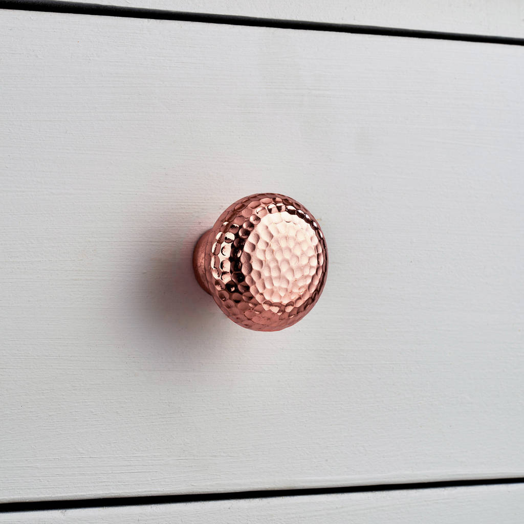 16 Rose Gold And Copper Details For Stylish Interior Decor: Copper And Silver Hammered Cupboard Door Knobs By Pushka