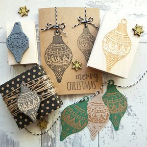 Christmas Pattern Drop Bauble Rubber Stamp