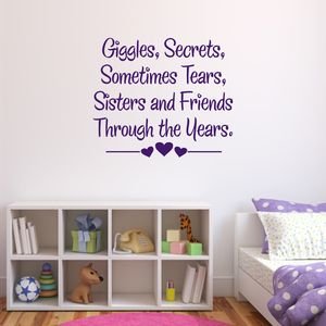 Sisters And Friends Quote Wall Sticker - bedroom