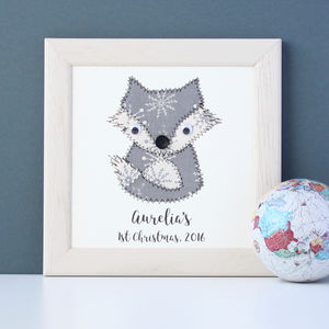 Personalised Baby Fox Embroidered Framed Artwork - pictures & prints for children
