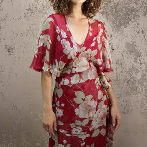 Floral Silk Wrap Dress In Red Rosegarden Print