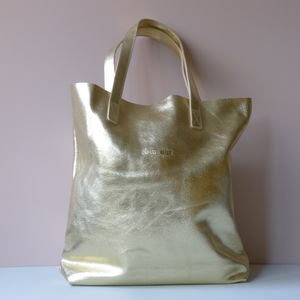 Metallic Leather Tote Bag - accessories gifts for sisters