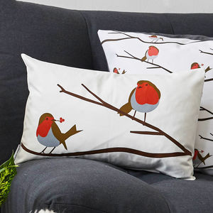 Robin Bird Cushion - bedroom