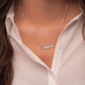 Gold Or Silver Horizontal Name Bar Necklace - necklaces & pendants