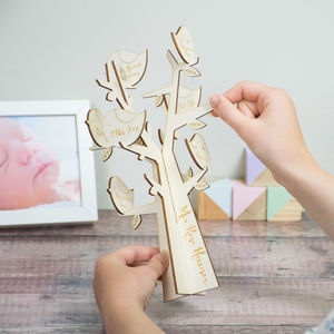 Personalised New Baby Keepsake Bird Tree