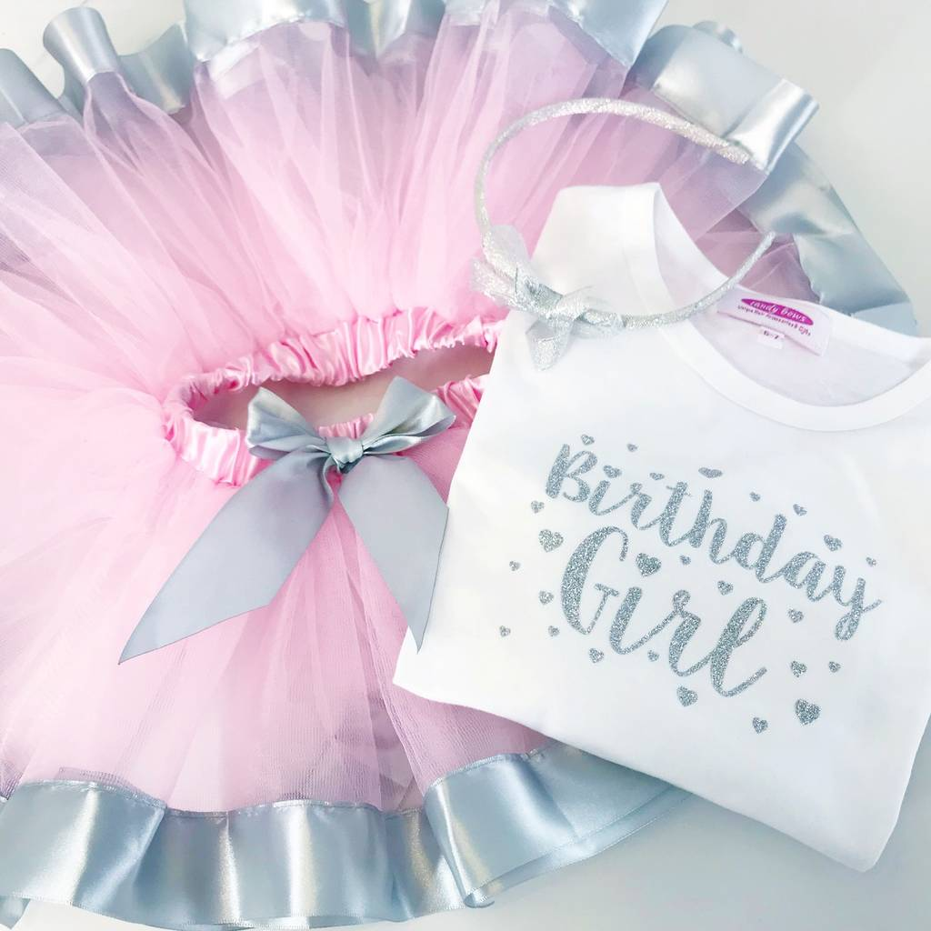 First Birthday Silver Sparkle T Shirt And Tutu Gift Set