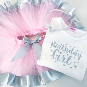 Birthday Silver Sparkle T Shirt And Tutu Gift Set