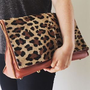 Cara Leather Hair On Hide Clutch - shop by recipient