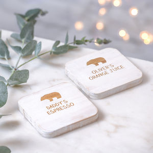 Personalised Daddy Bear And Baby Bear Coasters