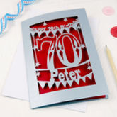 Personalised Papercut 70th Birthday Card - cards