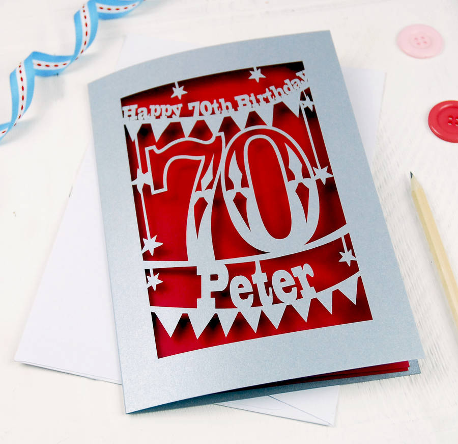 personalised papercut th birthday card by pogofandango, Birthday card