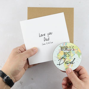 'World Best' Personalised Card With Coaster - good luck cards