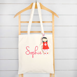 Personalised Long Handled Bag With Doll Charm