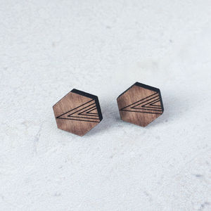 Wooden Hexagon Earrings - earrings