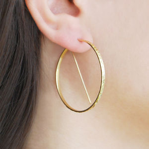 Yellow Gold Textured Geometric Hoop Earrings - earrings