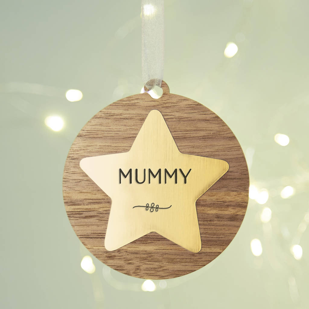 Personalised Christmas Bauble Star Rose Gold Copper