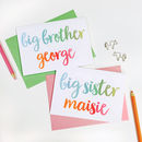Personalised New Baby Sibling Card