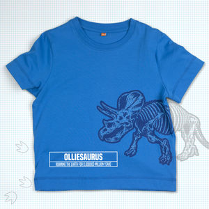Child's Personalised Dinosaur T Shirt Triceratops