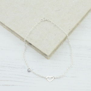 Sterling Silver Open Heart Anklet
