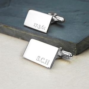 Oblong Hinged Silver Cufflinks - cufflinks