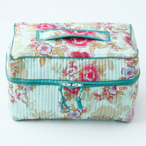 Vanity Bag In Blue Or Pink Rose Prints
