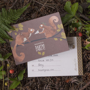 Set Of Eight Woodland Party Invitations - childrens party invitations