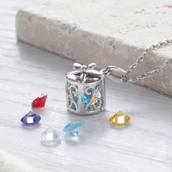Present Birthstone Necklace Made From Sterling Silver