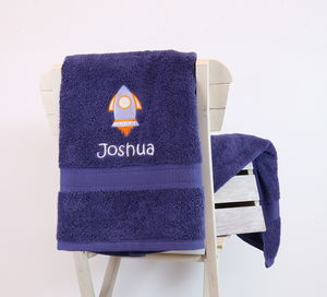 Kids Personalised Rocket Bath Towel - bed, bath & table linen