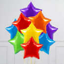 Rainbow Bright Stars Inflated Foil Balloon Bunch