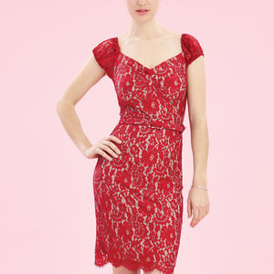 Wiggle Shift Dress In Flower Lace - statement sparkle
