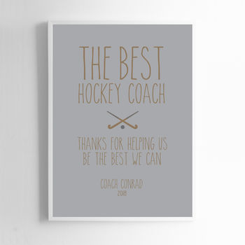 Personalised Hockey Print For Hockey Coach