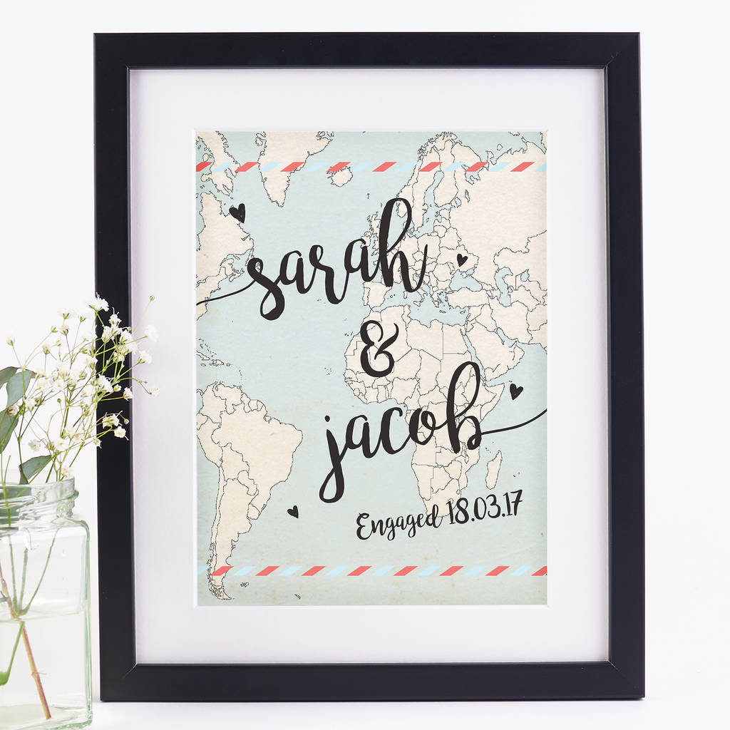 personalised engagement gift print by norma&dorothy ...