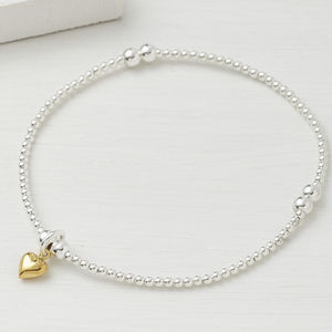 Sterling Silver Beaded Tiny Gold Heart Bracelet - wedding fashion