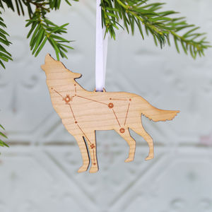 Lupus Wolf Constellation Wooden Christmas Decoration