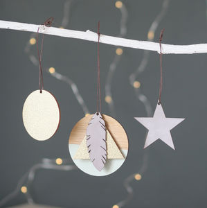 Geometric Leather And Wood Christmas Decorations Kit - tree decorations
