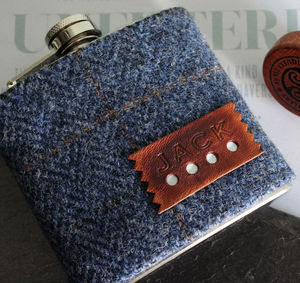Personalised Tweed Check Gift Hip Flask