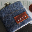 Tweed Check Personalised Hip Flask Gift