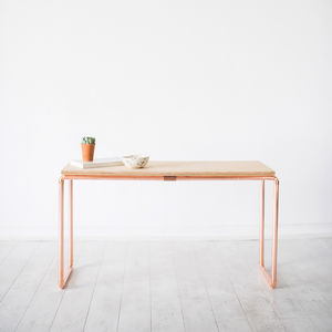 Copper And Birch Wood Display Table