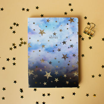 Thicker Pages Cloudy Stars Notebook With Lined Pages