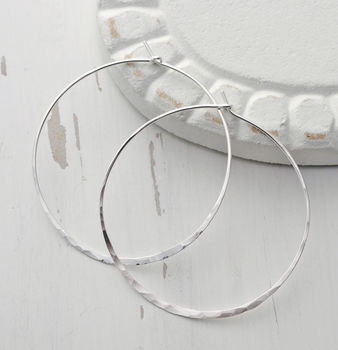 Large Round Sterling Silver Hammered Hoop Earrings