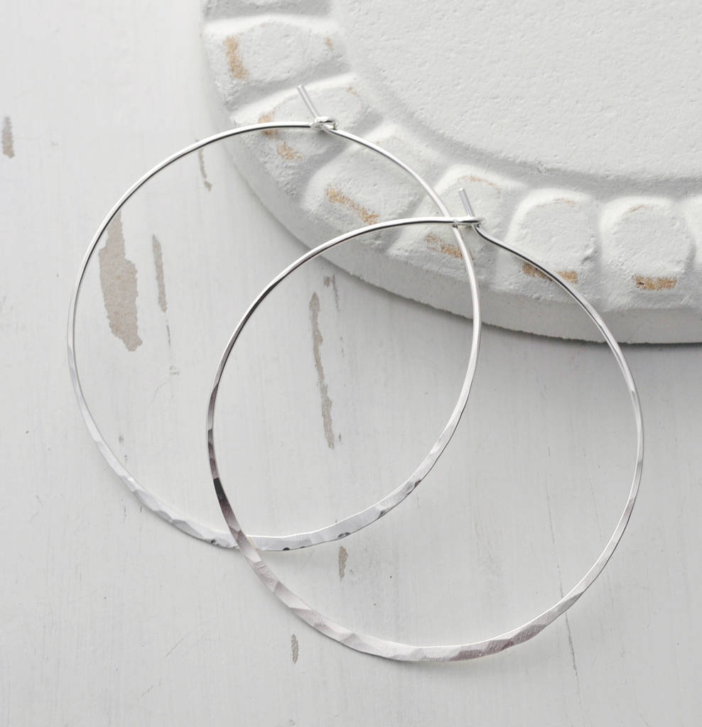 b81fa9b25 large round sterling silver hammered hoop earrings by marion made ...