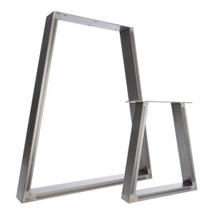 Two Table Legs Trapezium Pedestals In Industrial Steel - furniture