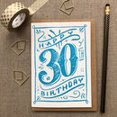 30th Birthday 30th Card Blue Chalk