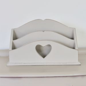 Large Vintage Painted Heart Letter Rack